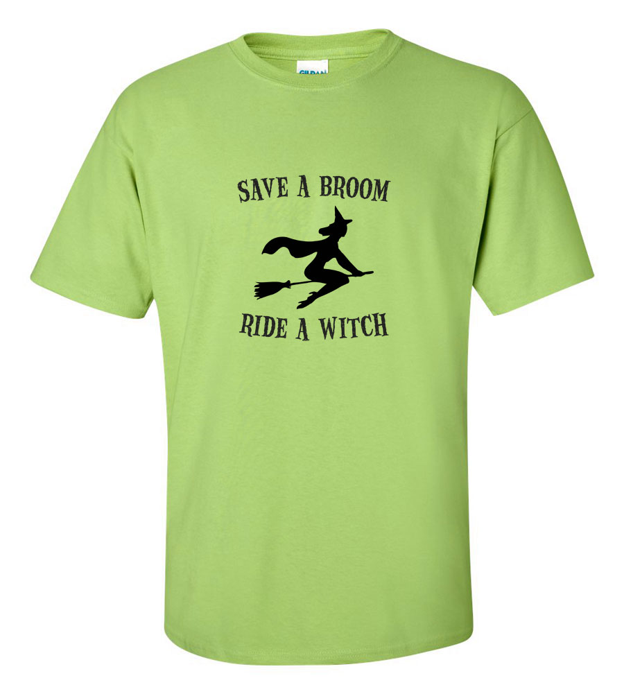 Halloween Save A Broom Ride A Witch T-shirt Funny Scary