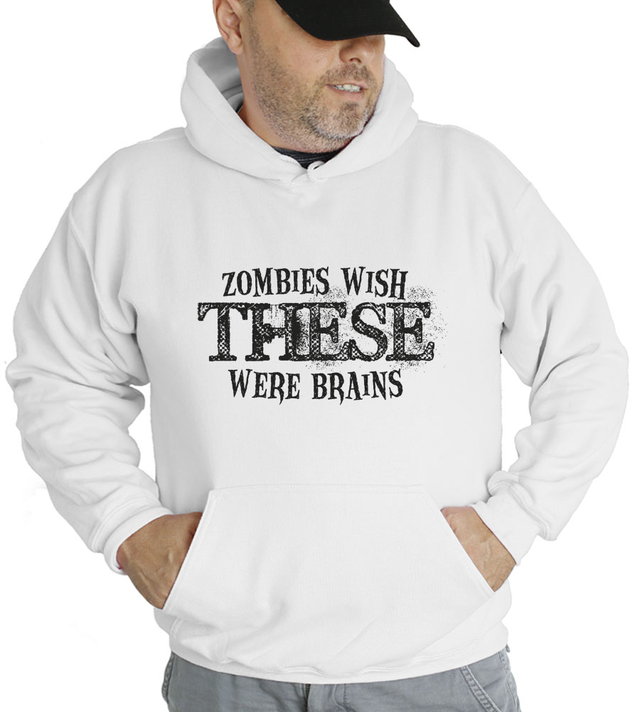 Halloween Zombies Wish These Were Brains Hooded Sweatshirt