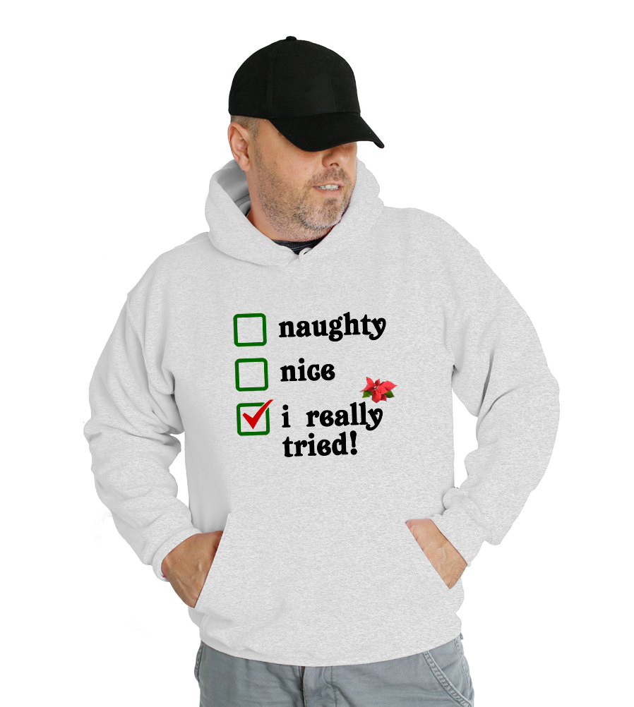 Naughty, Nice, I Really Tried Check List Funny Hooded Sweatshirt
