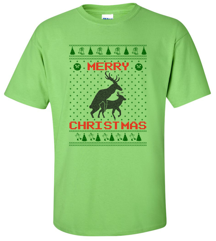 Reindeer Humping Merry Christmas T-shirt Funny Tee