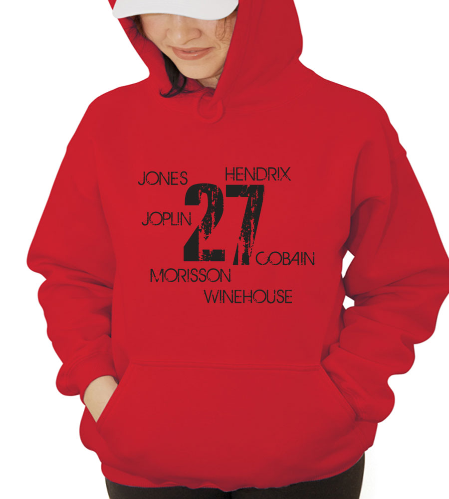 27 Jones Hendrix Cobain Winehouse Morisson Joplin Hooded Sweatshirt