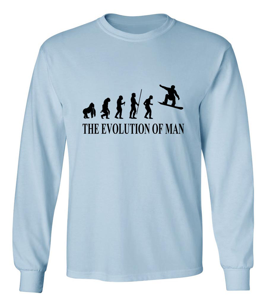 The Evolution Of Man Snowboard Long Sleeve T-Shirt