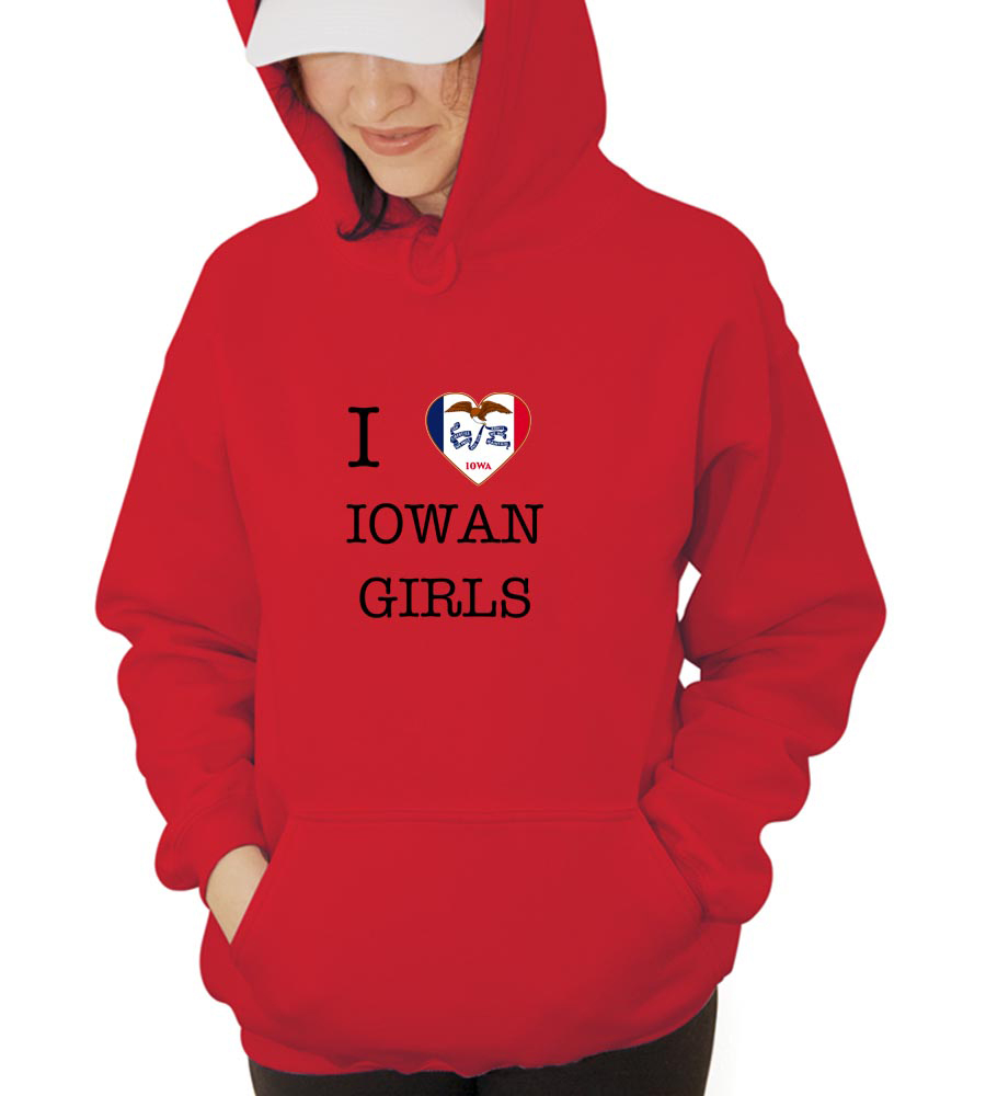 I Love Iowa Girls Hooded Sweatshirt