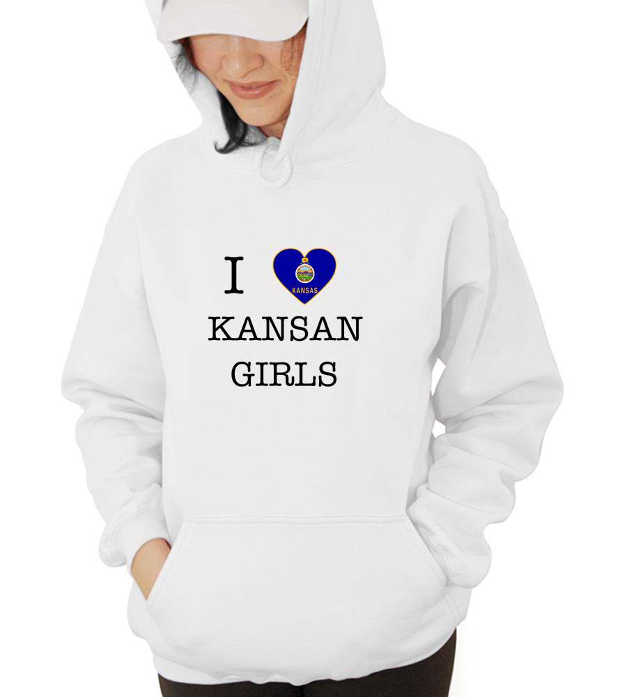 I Love Kansas Girls Hooded Sweatshirt