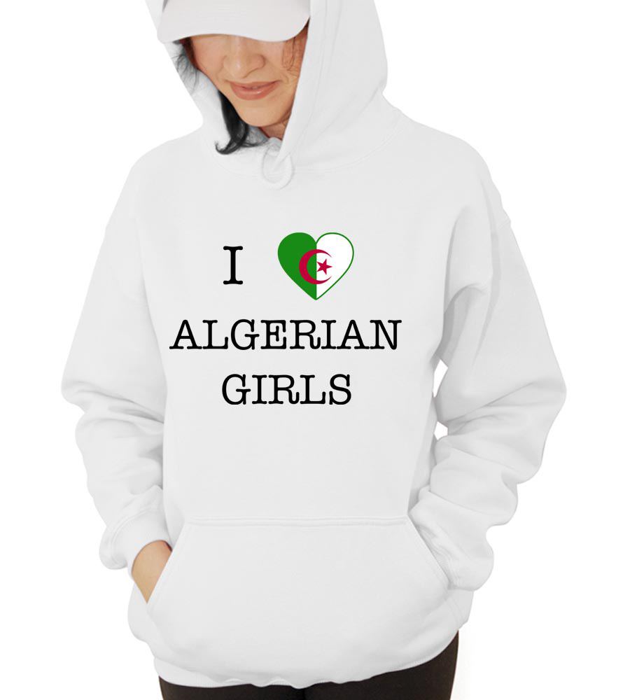 I Love Algeria Girls Hooded Sweatshirt